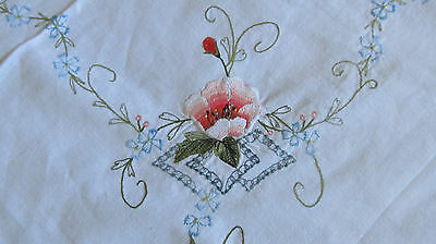 Vintage Square White Green Trim Supper Table Cloth - Flowers, small, cute