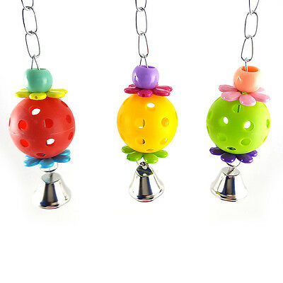 Hanging Parrot Chew Bell Ball Bite Toy Cage For Pet Bird Cockatiel Parakeet