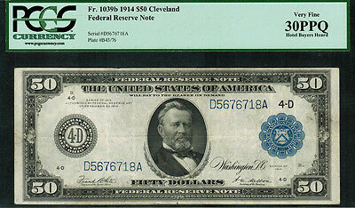 1914 $50 Federal Reserve Note - Cleveland FR-1039b - PCGS 30PPQ - Very Fine