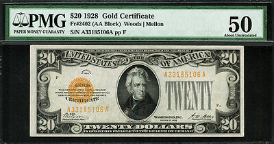 1928 $20 Gold Certificate FR-2402 - Graded PMG 50 - About Uncirculated