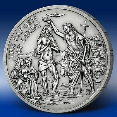 """American Mint Proof """"The Baptism of Christ"""" 1996 Edition .999 silver Coin w/COA"""