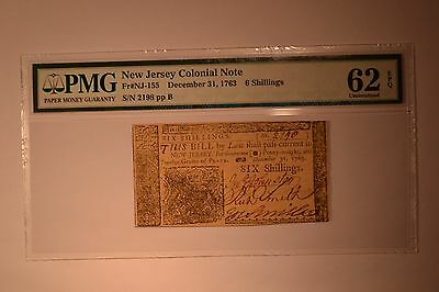 New Jersey December 31, 1763 6s PMG Uncirculated 62 EPQ.