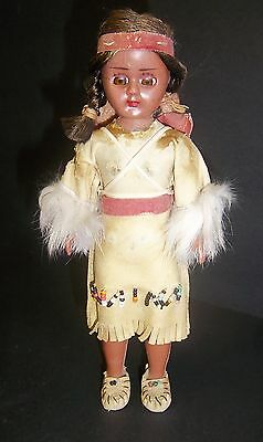 Vintage Plastic Celluloid Indian Doll With Pouch And Babies And Movable Eyes