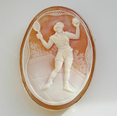 Rare Vintage 9ct Gold Cameo Brooch Depicting Female Tennis Player c1940's