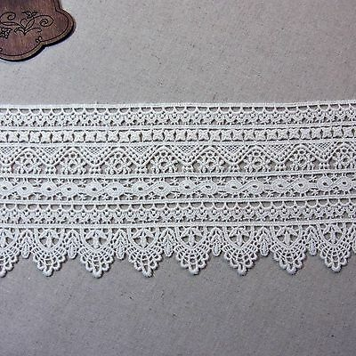 Embroidered Cotton Crochet Lace Trim Vintage Style 10cm Wide 1Yd