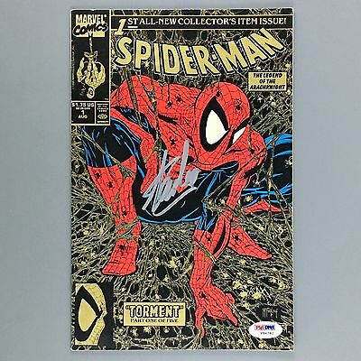 Spider-Man 1 SIGNED by Stan Lee PSA/DNA CERTIFIED Todd McFarlane GOLD Edition VF