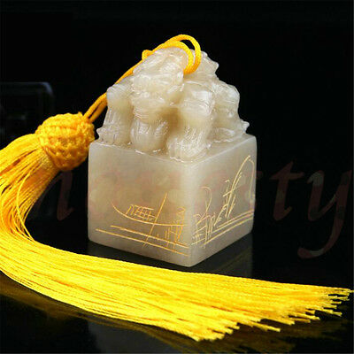 1x Chinese Traditional Double Animal Head Carving Sculpture Name Stone Jade Seal