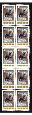 Chinese Crested Dog Mans Friend Strip Of 10 Stamps#1