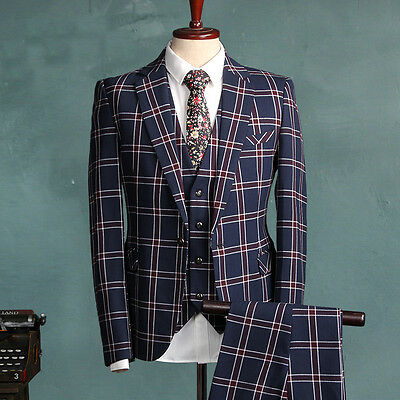 Men Tailored Fit 3 Piece Groom Business Vintage Retro Formal Suit 2 Color Select
