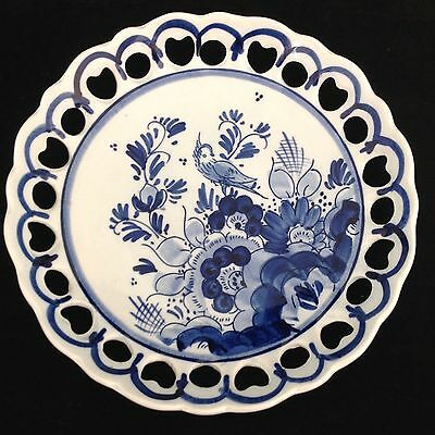 VINTAGE Blue & White ROYAL DELFT WALL PLATE Holland HAND PAINTED Delftsblauw