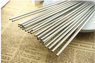 6 Pairs - 22.5cm Long Stainless Steel Resuable Light Chopsticks / Cutlery