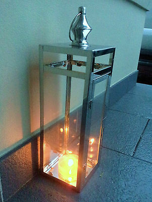 LARGE OUTDOOR CANDLE LANTERN (Polished Stainless Steel / Glass)