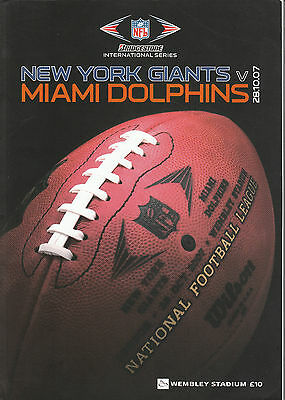 New York Giants V Miami Dolphins Wembley 28 October 2007 Very Good Condition