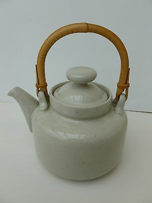 teapot with bamboo handle from 1970's retro stoneware