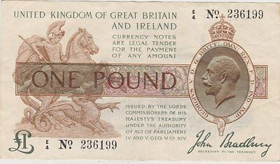 T16 John Bradbury £1 Treasury 1917 Banknote In Near Extremely Fine Condition