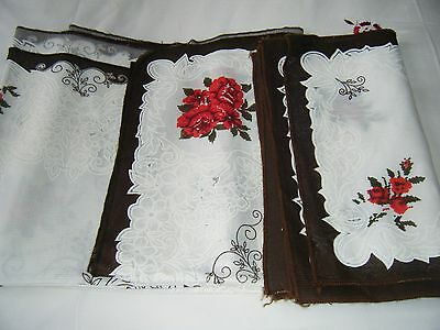 """Extra  Long Tablecloth And 8 Napkins Red Roses New  98""""x 58"""""""