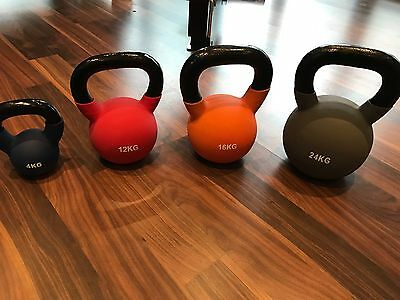 Jordan Coloured Neoprene Kettlebells 4kg, 12kg, 16kg, 24kg
