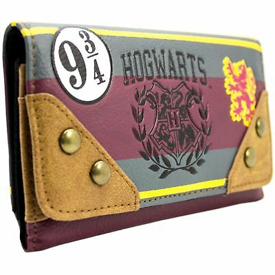 New Official Harry Potter Hogwarts School Emblem Brown Coin & Card Trifold Purse