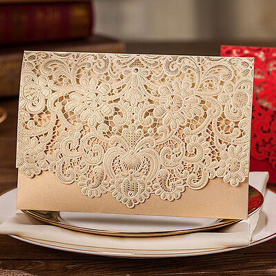 CW072, Shiny Gold Embossing Hollow Flowers Wedding Invitations Cards