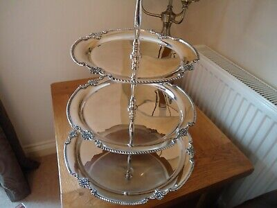 Silver Plated 3 Tier Cake Stand Sale Price- Cup Display Cakes Restaurant Hotel