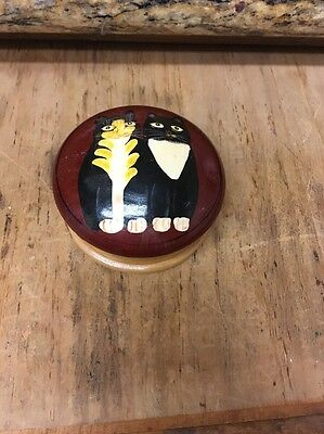 "Black & White kitty Cats Painted Wood Wooden Round Trinket Box 4"" diam"