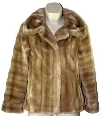 Vintage ASTRAKA Faux Pastel Mink Fur Retro Winter Jacket/Coat SIZE 12/14