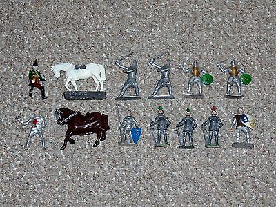 Vintage Lead Crescent & Cherilea Lot of 13 Medieval Knights & Horses Some Rare