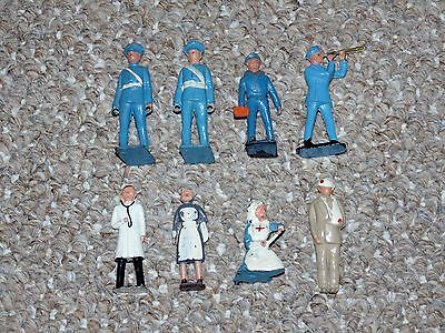 Vintage Lead Crescent Lot of 8 Saint John's Ambulance & WWII Figures Some Rare