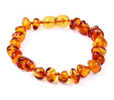 100% Genuine Baltic Baby to Adult size Amber Anklet/Bracelet Knotted 11-23CM
