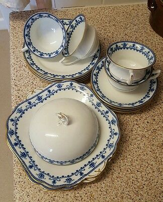 Aynsley blue white and gold tea set