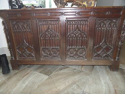 Large Antique Carved Oak Coffer Gothic Tracery Panels & Carved Saints