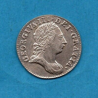 1763 KING GEORGE III SILVER THREEPENCE COIN IN LOVELY CONDITION.  3d.