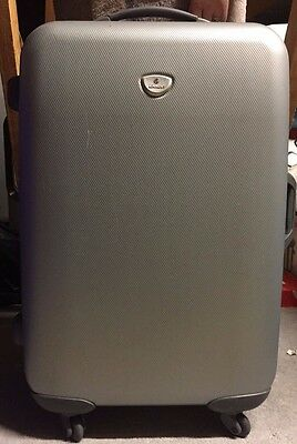 Set 3 Eminent Luggage Suitcases Silver Grey Hard Case 4 Spinner Large Med Small