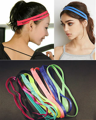 Sports elastic headband double hair band non slip stretch gym yoga ladies mens