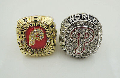 2PCs 1980 2008 Philadelphia Phillies World Series Championship Ring Fans Gift !