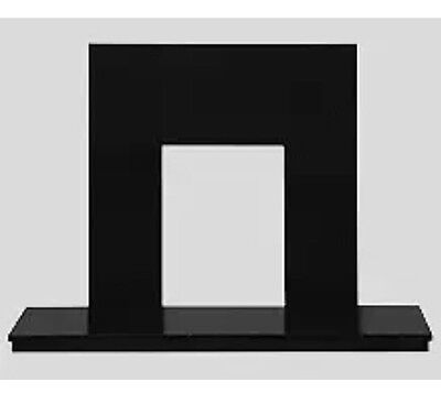 """54"""" Black Granite Hearth And Back Fireplace"""