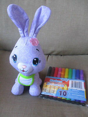 """Fisher Price Plush Doodle 8"""" Bunny Rabbit 3"""" Ears Purple Pattern 2011/ Markers"""