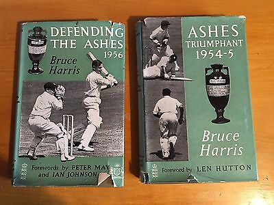 2 x Ashes Books Ashes Triumphant 1954-5 & Defending Ashes 1956 by Bruce Harris