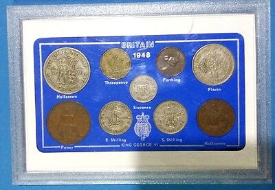 Proof set of British coins-King George VI, year of issue 1948, UNC, mint.