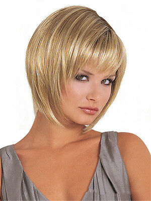 New Women Short Straight Hair Wig Blonde/Brown Mixed Synthetic Fiber Cosplay Wig