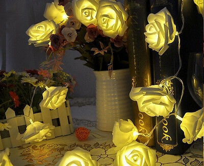 battery operated LED Fairy Lights 2 Mode String light 20 Roses 2.2M Warm White