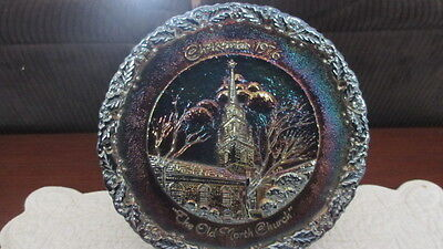 """Fenton Carnival Glass 8"""" Christmas Plate 1976 The Old North Church #7"""