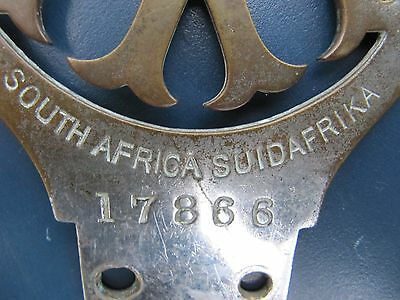 Vintage Early Automobile Association Aa South Africa Grille / Bar Car Badge
