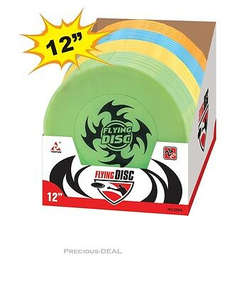 """12"""" Super Flying Disc Frisbee Ring Garden Saucer Beach Game Fun Assorted Color"""