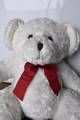 Tagged Russ White Bear Plush-Soft Toy Beanie & Heart foot Excellent Cond. 14""