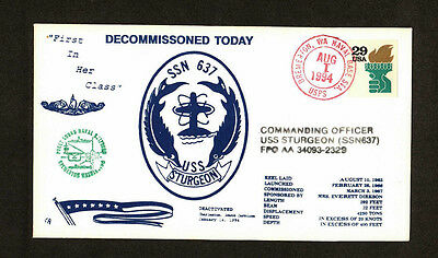 USS Sturgeon, SSN637 Decommission cover.  First in her Class