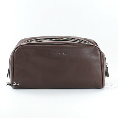 NWT Men's Coach Leather Weekend Toiletry Shaving Travel Kit Bag F93445 Brown NEW