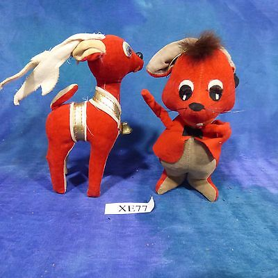 Vintage Red Stuffed Christmas Decor Reindeer, Mouse 50s Ornaments Japan Lot XE77
