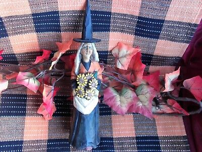 VINTAGE CAPTURED CARVINGS by ANTHONY COSTANZA HALLOWEEN WITCH w/ith SUN FLOWERS