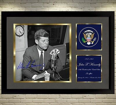 John F Kennedy U S A signed autograph poster canvas photo picture WITH FRAME